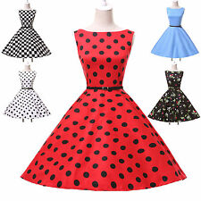 Cotton Vintage Style Swing 1950s 1960s Housewife Retro Rockabilly EVENING Dress