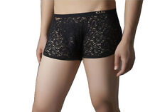 Men's Lace Boyshorts Underwear Panty Low Rise Boxer Brief Black