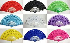 New Foldable Shining Sequins Hand Fan Fabric Decor