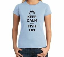 Keep Calm And Fish On Funny Juniors T Shirt Hunting Fishing Gift Women's T Shirt