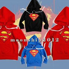 Toddlers Boys sweater hoodies outerwear Superman Long Sleeve Red/Blue/Black 2-6T
