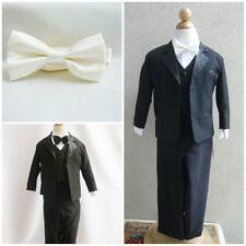 Black boy formal suit with ivory bow tie ring bearer wedding party graduation