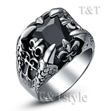 TT 316L S.Steel Dragon Claw with Black Square Sparkling CZ Ring Size 8-13 (RZ37)