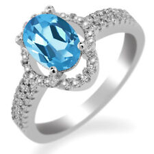 2.09 Ct Oval Natural Swiss Blue Topaz 925 Sterling Silver Ring