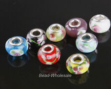10pcs  Big Hole Beads European Beads Porcelain&Glass Crystal Flower DIY Bracelet