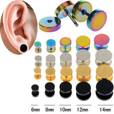 2pc Stainless Steel Fake Cheater Ear Plugs Gauge Illusion Body Jewelry Pierceing