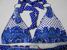 $100 NWT Jessica Simpson bikini swimwear Large Paisley 2 piece suit blue wht