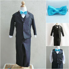 Black boy formal suit with turquoise blue bow tie ring bearer party graduation