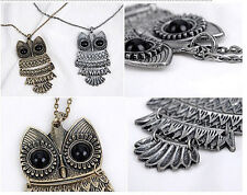 New Fashion Retro Vintage Black Eye Big OWL Long Pendant Sweater Chain Necklace
