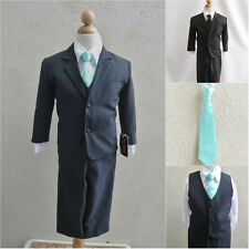 Black boy formal suit with aqua/pool blue long tie ring bearer party graduation