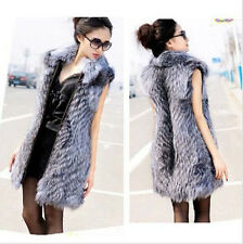 Real Silver Fox Fur Womens Vest Coat Waistcoat 100% Fur Collar Long Gilet 80cm