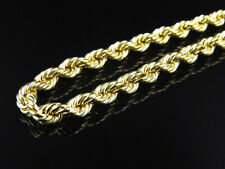 Mens or Ladies 10K Yellow Gold 6MM Hollow Rope Chain Necklace 22-30 Inches