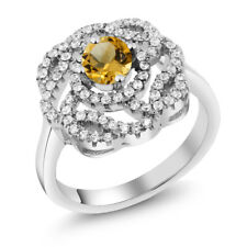 1.48 Ct Round Yellow Citrine 925 Sterling Silver Ring