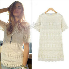 New Women Sexy long Sleeve Embroidery Floral Lace Crochet Tee T-Shirt Top Blouse