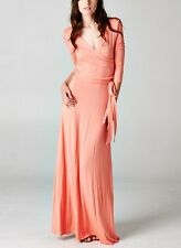 CHELSEA VERDE'S SHIFTING SEASONS Palm Beach Coral Wrap Maxi Dress S--M-L