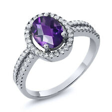 1.76 Ct Oval Checkerboard Natural Purple Amethyst 925 Sterling Silver Ring