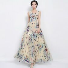 V Neck Butterfly Flowers Printed Bohemia Summer Casual Dresses Maxi Formal Gowns