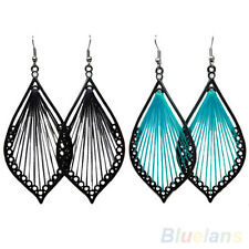 Beautiful Elegant Handcraft Thread Leaf Dangle Drop Hook Earrings Jewelry Gift