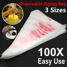 100 Plastic Disposable Icing Piping Pastry Bags Cake Cream Decorating S/M/L NEW