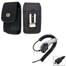 Heavy Duty Car Charger + Vertical Rugged Canvas Case Pouch for NOKIA Cell Phones