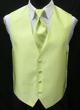 New Key Lime Green Tuxedo Vest & Choice of Tie Wedding Prom *FREE SHIPPING* XLL