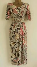 NEW M&S MARKS AND SPENCER Leaf Print Dress Twisted Waist Chocolate Red Midi 8-24