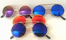 Round Flip Up Sunglasses Multi Colored Revo Style Lenses Over Clear