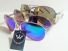 Large Aviator Sunglasses Mirrored Lenses Silver Frame Triple Crown CHP