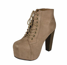 Rosa! Lace-Up Platform Ankle Bootie Wooden High Thick Heels Taupe Faux Suede