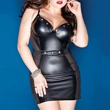 PD7 - XXL 2XL Plus Size Sexy Mesh PVC Faux Leather Studs Club Mini Dress Black