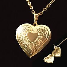"""NEW Gold Plated Heart Locket Pendant Womens Chain Girls Necklace (18"""" 20"""")"""