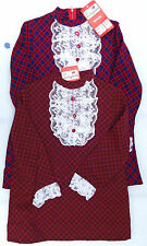 Vintage girls dress 1960s tartan and lace Ladybird Nylon UNUSED Scottish dress