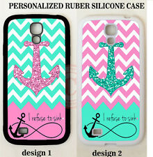 NEW REFUSE TO SINK MINT PINK CHEVRON ANCHOR CUSTOM Case For Samsung GALAXY S5 S4