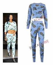 NEW WOMENS CELEBRITY RIHANNA PINEAPPLE CROP TOP LADIES TROUSER 2 PIECE SUIT/8-14