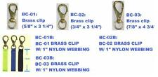 Naval bronze clip with 25mm webbing. 3 sizes