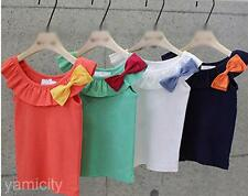 Baby Girl Kids Toddlers Bowknot Lotus Leaf Neck Sleeveless T-shirt Vest Tank Top