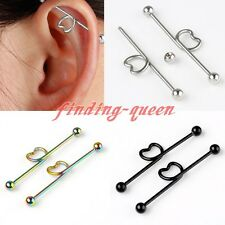 Steel 14G Twisted Heart Long Industrial Barbell Ear Cartilage Earrings Piercing