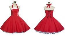 Vintage Dancing Party Dress Prom Rockabilly Swing Jive Skirts 50s 60s Cotton Red