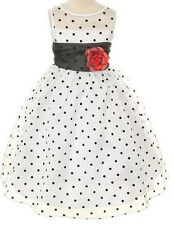 Communion Flowers Girls Dresses Wedding Polkadot Party Graduation - Black White