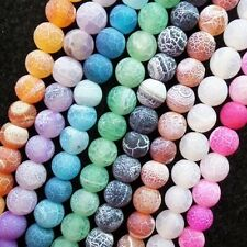 6mm Ground Mixed Color Dragon Veins Agate Round loose bead 15.5 inch XLZ-126
