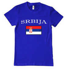 SERBIA SRBIJA Србија COUNTRY FLAG Royal Blue Cotton Adult Unisex T-Shirt Tee To