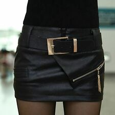 Solid Black Leather Sexy Zipper Bodycon Hot Culottes Womens Mini Skirt With Belt