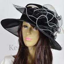 Organza Derby Dress Hat Women Wedding Formal Hat Feather Floral Church Hat S55