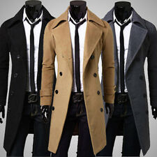 Men's Stylish Trench Coat Slim Winter Warm Long Jackets Double Breasted Outwear