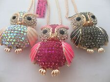 3 color,Betsy - Johnson sparkling crystal pendant enamel owl sweater chain #142H