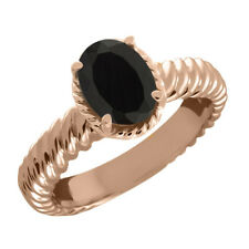 1.63 Ct Oval Black Onyx 925 Rose Gold Plated Silver Ring