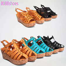 Women's Cute Strappy Caged Buckle Wedge Platform Sandal Shoe Size 5.5 - 10 NEW