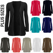 Ladies Women Front Pocket Long Sleeve Casual Stretch Cardigan Top Plus Big Sizes
