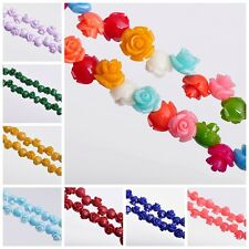 Hot 50/100pcs 8mm Rose Flower Finding Loose Spacer Coral Beads Charm Multi Color