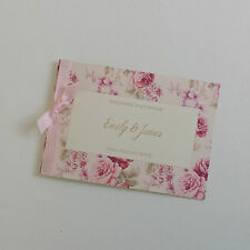 PERSONALISED PINK VINTAGE ROSE WEDDING INVITATIONS with ribbon shabby chic